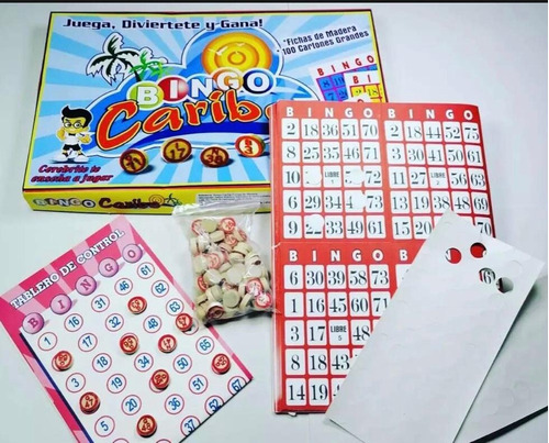 Bingo Caribe Fichas De Madera Y 100 Tablas De Bingo + Envío