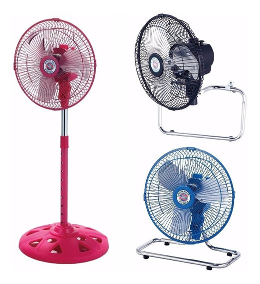 Ventilador 3 En 1 Pie Turbo Pared 10 Pulgadas Metal Colores