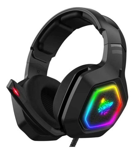 Audífonos gamer Onikuma K10 negro con luz  rgb LED