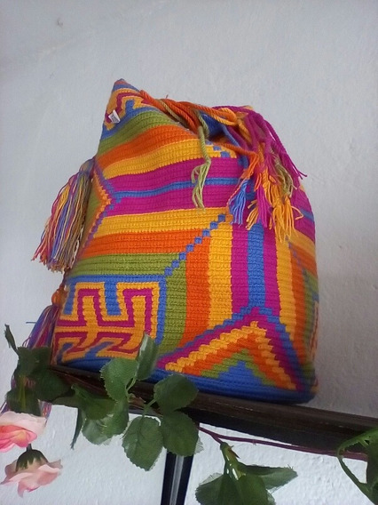 Mochila Guayu Muy Buen Precio Con Tegido 100% Artesanal.