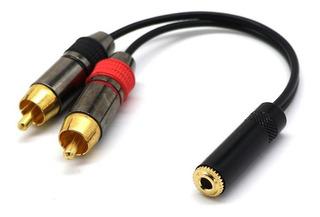 Oro Puro 3.5 Estéreo Jack Socket A 2 Phono Rca Sockets Adapt