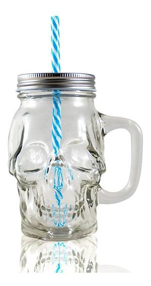 Frasco Ball Mason Jar Skull Craneo 16oz Con Asa Transparente