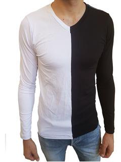 Camisa Masculina Gola V Rasa Manga Longa Slim Fit Duas Cores