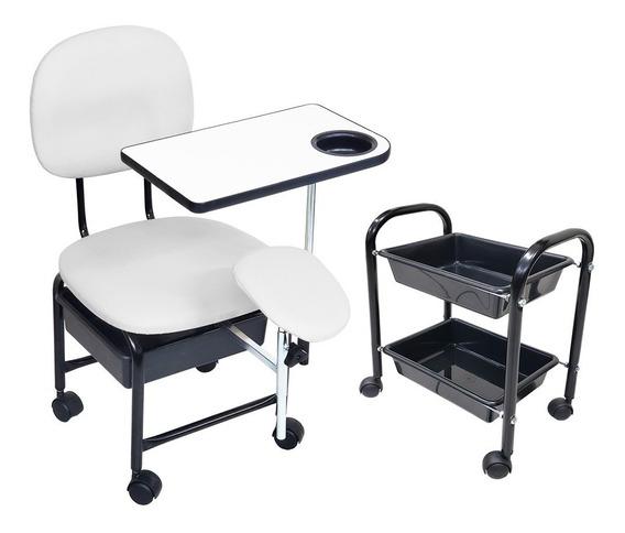Cadeira Manicure Cirandinha Com Suporte + Carrinho Auxiliar