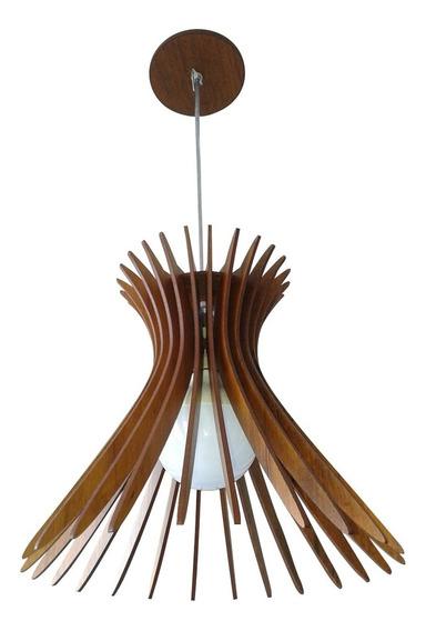 Luminária Pendente Cattedrale Madeira Rústica 20cm