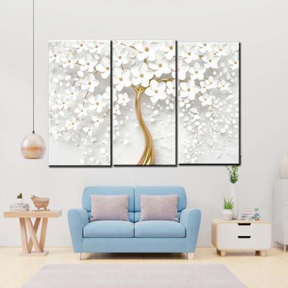 Quadro Decorativo Flores Brancas