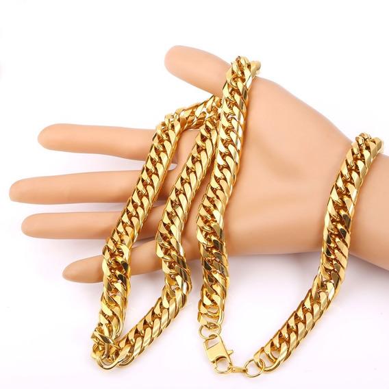 Corrente Masculina Grossa Banhada 5 Camadas Ouro 18k Cordão