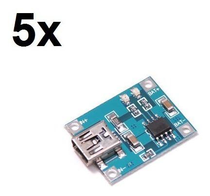 5x Módulo Carregador De Baterias De Lítio - Tp4056 - Arduino