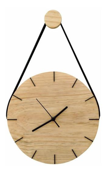 Relógio De Parede Decorativo Moderno Madeira C/ Alça Natural