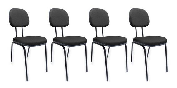 Kit 4 Cadeiras Secretária Fixa Pé Palito Jserrano Escritório