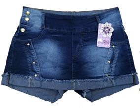 Roupas Femininas Short Saia Jeans Plus Size Com Lycra 44ao52