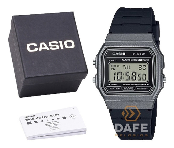 Relógio Casio F-91w Cinza Unissex Original C/caixa E Nf