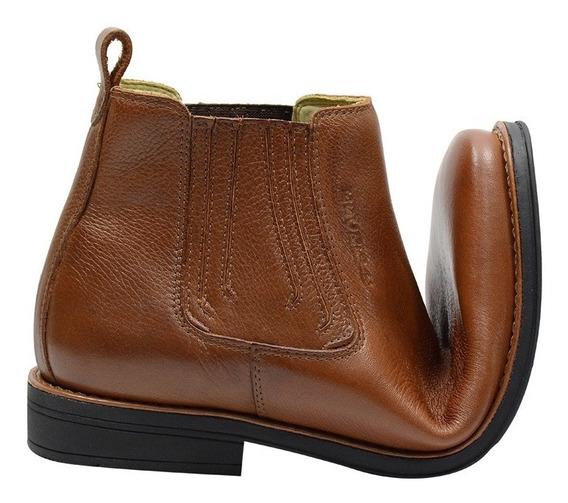 Botina Conforto Gel Atron Shoes Couro Cor Whisk