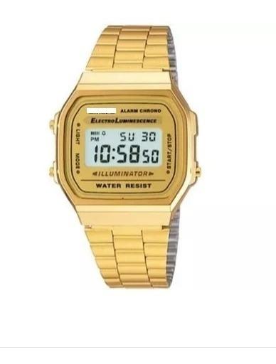 Relógio Pulso Dourado Unisex Retrô Original Promoção