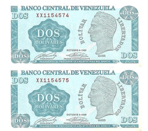 Billetes Antiguos Reposición Bs 2, Octubre 5, 1989 Serie Xx