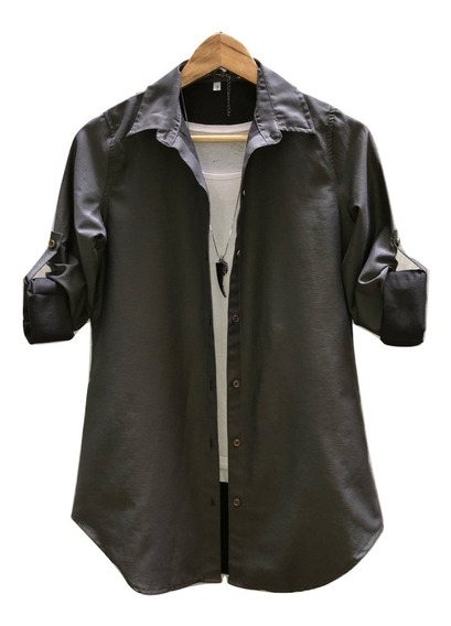Camisa Larga Mujer Blanco- Negro- Militar- Jean Talle 1 A 6