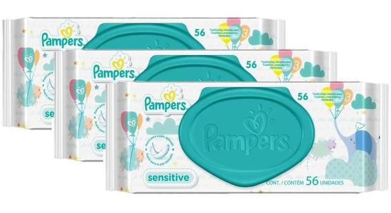 Kit Toalhinhas Umedecidas Pampers Sensitive Com 168 Unidades
