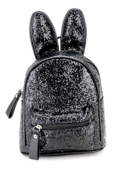 Mini Mochila Infantil Coelho C/ Glitter Preta 20cm