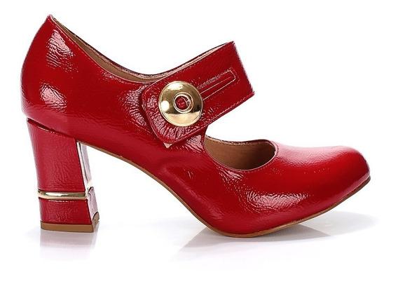 Sapato Boneca Verniz Vermelho Salto Grosso Médio