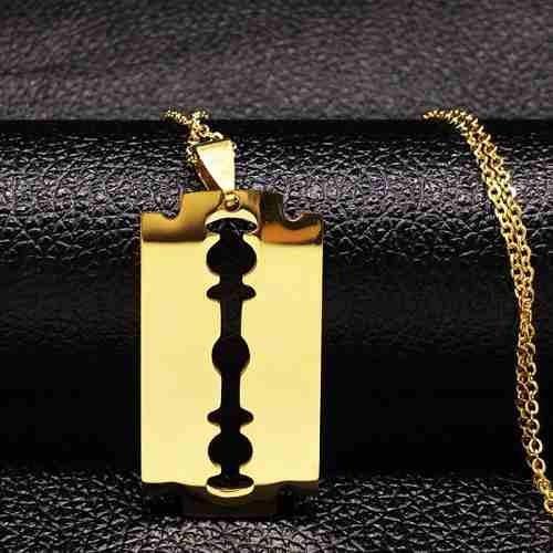 Pingente Lâmina Wilkinson Jóia Em Aço Inox Dourado Panteras