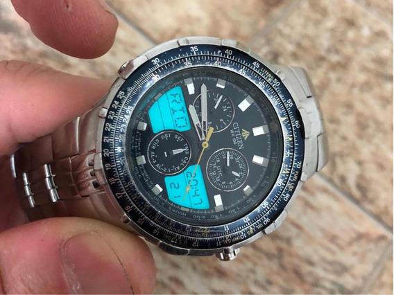 Relógio Citizen Navihawk C390 Fundo Azul Série Prata