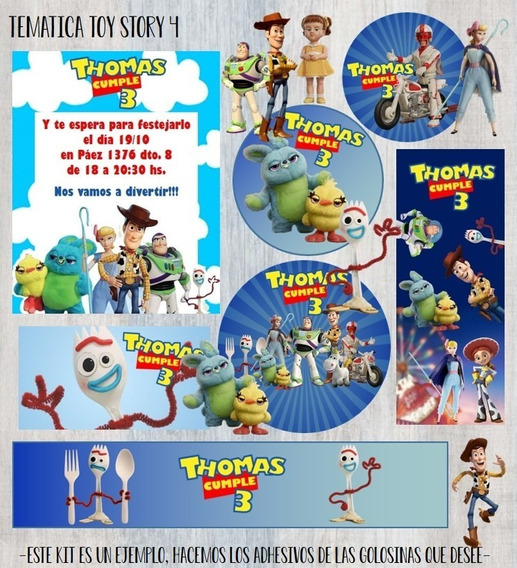 Stickers Golosinas Candy Bar Diseño Toy Story 4
