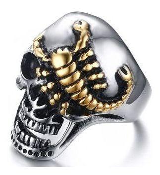 Anel Em Aço Inoxidável - Crânio Escorpião Gold