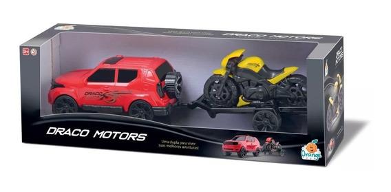 Brinquedo Draco Motors Jeep + Motorcycle Orange Toys