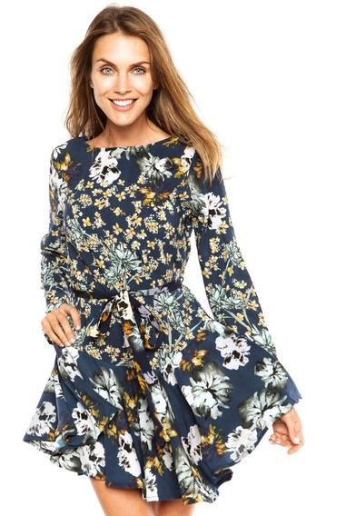Vestido My Place Curto Floral Azul Tam G