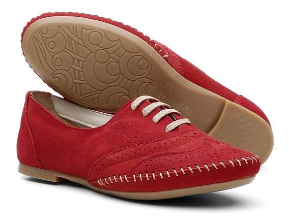 Sapato Social Feminino Top Franca Shoes Oxford Camurça Ouro