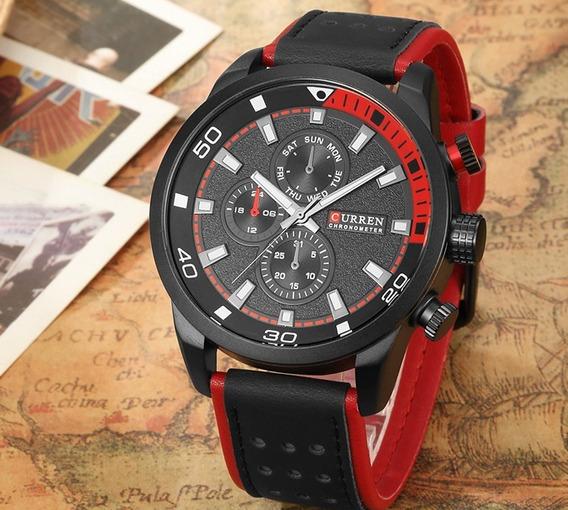 Relógio Masculino Curren Original Esportivo Casual Vermelho