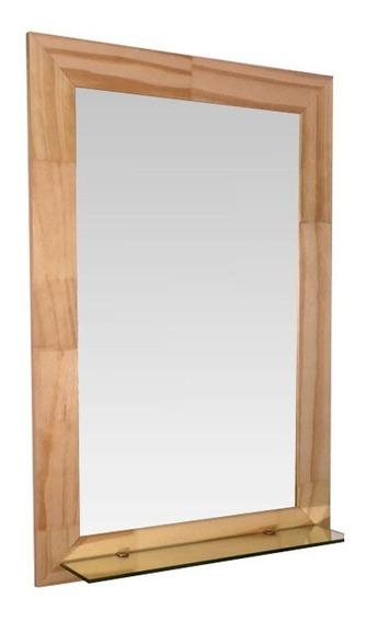 Espejo Reflejar Finger Baño Marco Madera Repisa Sin Interes