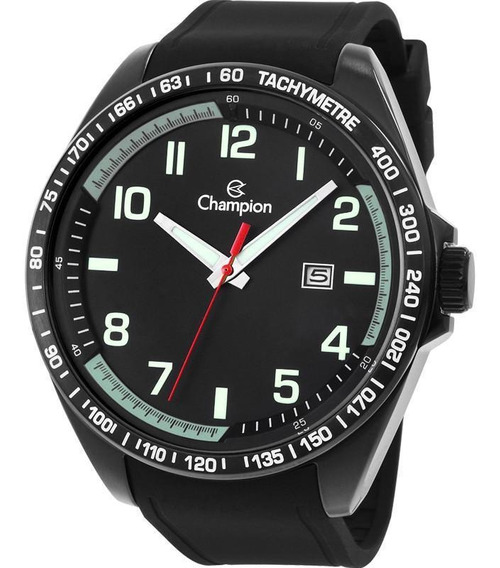 Relógio Champion Masculino Preto Puls. Borracha Ca31720p