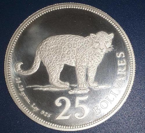 Imagen 1 de 2 de Moneda De Plata De 25 Bolívares De 1975 Fauna Jaguar Proof