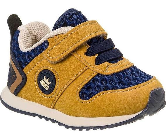 Tênis Bebê Klin Masculino Infantil Mini Walk 453007 Mostarda
