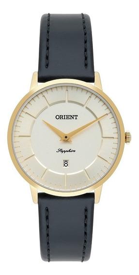 Relógio Pulso Orient Feminino Couro Dourado - Fgscs002