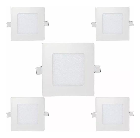 Kit 5 Painéis Plafons Led 3w Embutir Quadrado Branco Frio