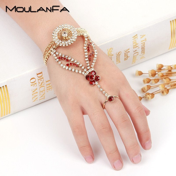 Luxuosa Pulseira Anel Bracelete Dourada Strass Vermelho