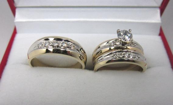 Set De Anillos Matrimomiales 14k Con Zirconias Rusas