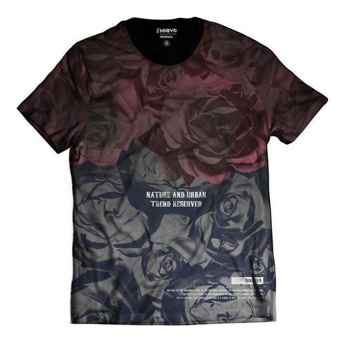 Imagem 1 de 2 de Camiseta Estampa Total Rosas Vermelhas Degradê Rap