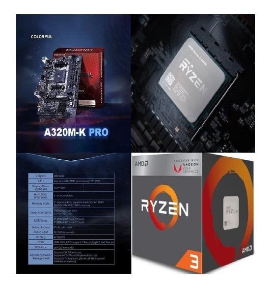 Kit Gamer Upgrade Amd Ryzen R3 2200g + A320m-k - Promoção