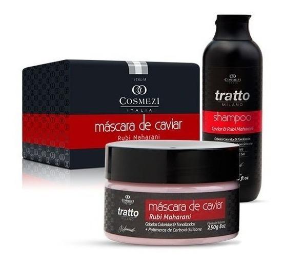 Máscara E Shampoo Caviar Rubi 250 - Coloridos E Danificados