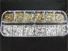 500 Enfeites Metálicos 3d Prata Dourado 6 Diferentes Fórmas