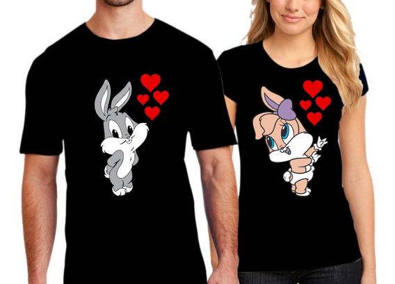 Paquete De Playeras Parejas Novios Lola Bunny & Bugs Bunny