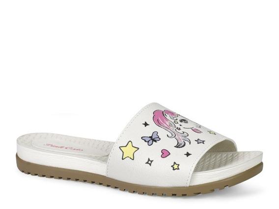 Tamanco Pink Cats Menina Slide Unicornio Branco V0163
