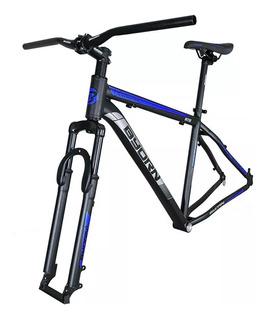 Kit De Aluminio Quadro Guidao Selim Canote Garfo 19x29 Azul