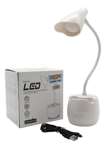 Imagen 1 de 8 de Lámpara Escritorio Luz Led Flexible Pila Recargable Usb Qya2