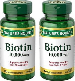 2 Frascos Biotina 10.000 Mcg 240 Sofgels Nature´s Bounty