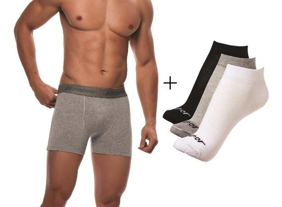 Kit 5 Cuecas Boxer Keeper Cotton Basic + 3 Pares De Meias
