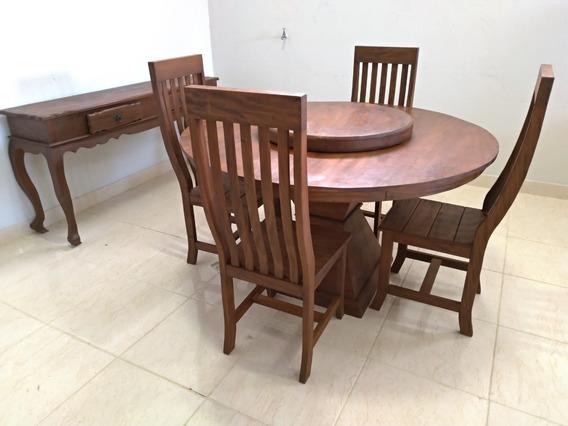 Mesa Redonda Giratória 1,30m Madeira Maciça + 4 Cadeiras Tok